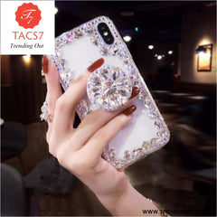 Love Pink Diamond 3D Bracket Transparent Phone Case White / for iphone 6 6s