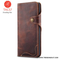 Luxury Business Style Genuine Real Leather Case for Samsung Galaxy S8 S9 S10 Plus Case Flip Wallet Card for Samsung Brown / For Samsung Note