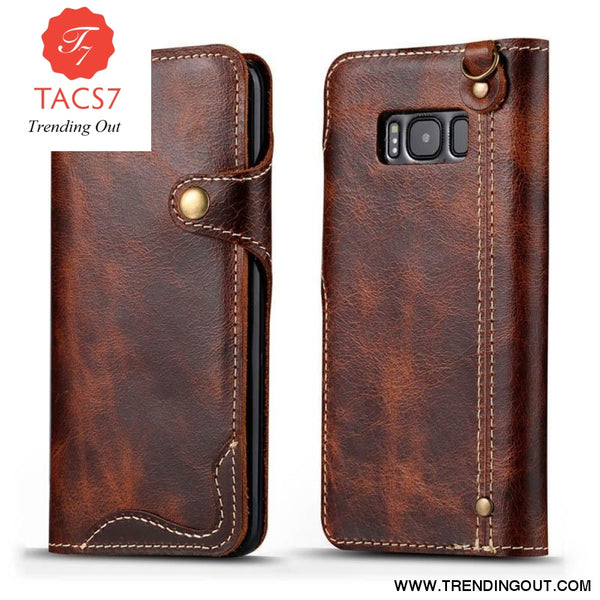 Luxury Business Style Genuine Real Leather Case for Samsung Galaxy S8 S9 S10 Plus Case Flip Wallet Card for Samsung