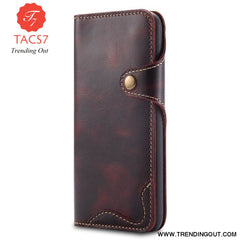 Luxury Business Style Genuine Real Leather Case for Samsung Galaxy S8 S9 S10 Plus Case Flip Wallet Card for Samsung Wine-Red / For Samsung