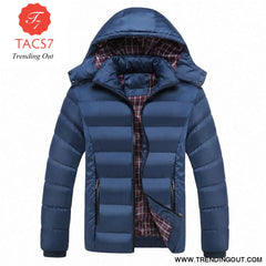 Men Winter Jacket Warm Male Coats Fashion Thick Thermal Denim blue / M