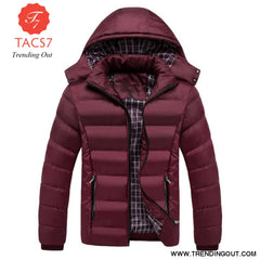 Men Winter Jacket Warm Male Coats Fashion Thick Thermal Wine red / M