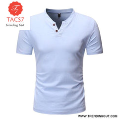 Mens Casual Button Down T- Shirts Summer Short Sleeve blue / M