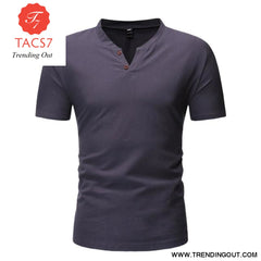 Mens Casual Button Down T- Shirts Summer Short Sleeve gray / M