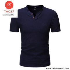 Mens Casual Button Down T- Shirts Summer Short Sleeve navy blue / M