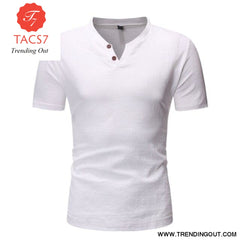 Mens Casual Button Down T- Shirts Summer Short Sleeve white / M