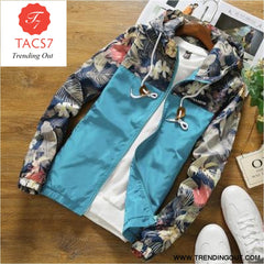 Mens Hooded Jackets Slim Fit Long Sleeve Clothing Sky blue / M