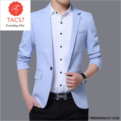 Mens Red Notched Lapel Suit Blazer Jacket Business Casual Blazer Men Wedding Tuxedo Blazers 5XL light blue / M