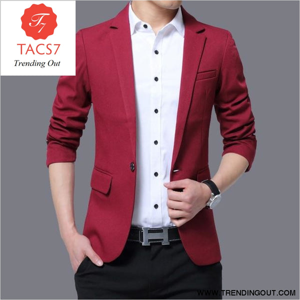 Mens Red Notched Lapel Suit Blazer Jacket Business Casual Blazer Men Wedding Tuxedo Blazers 5XL wine red / M