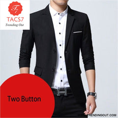 Mens Slim Fit Elegant Blazer Jacket Brand Single Breasted Two Button Party Formal Business Dress Suit black two button / M