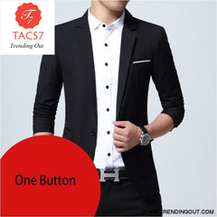 Mens Slim Fit Elegant Blazer Jacket Brand Single Breasted Two Button Party Formal Business Dress Suit black one button / M