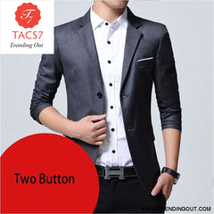 Mens Slim Fit Elegant Blazer Jacket Brand Single Breasted Two Button Party Formal Business Dress Suit gray two button / M