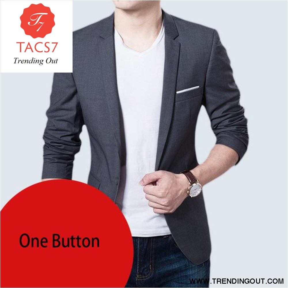 Mens Slim Fit Elegant Blazer Jacket Brand Single Breasted Two Button Party Formal Business Dress Suit gray one button / M