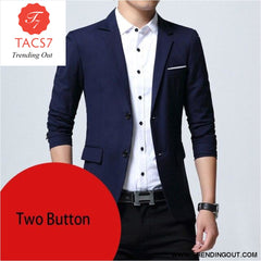 Mens Slim Fit Elegant Blazer Jacket Brand Single Breasted Two Button Party Formal Business Dress Suit navy two button / M