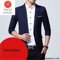 Mens Slim Fit Elegant Blazer Jacket Brand Single Breasted Two Button Party Formal Business Dress Suit navy one button / M