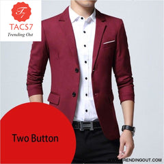 Mens Slim Fit Elegant Blazer Jacket Brand Single Breasted Two Button Party Formal Business Dress Suit wine red two button / M