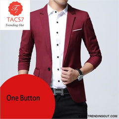 Mens Slim Fit Elegant Blazer Jacket Brand Single Breasted Two Button Party Formal Business Dress Suit wine red one button / M
