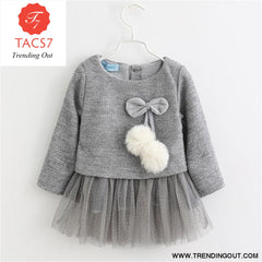 New Spring Autumn Baby Clothes Long Sleeve Fake 2 Piece Party Dress baby girl clothes kids AX056- Gray / 6M