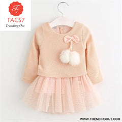 New Spring Autumn Baby Clothes Long Sleeve Fake 2 Piece Party Dress baby girl clothes kids AX056 -Pink / 6M