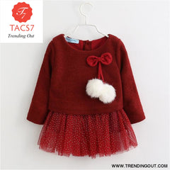 New Spring Autumn Baby Clothes Long Sleeve Fake 2 Piece Party Dress baby girl clothes kids AX056 -Wine red / 6M