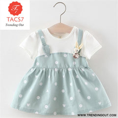 New Spring Autumn Baby Clothes Long Sleeve Fake 2 Piece Party Dress baby girl clothes kids ax1043 blue / 6M