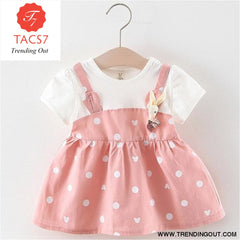 New Spring Autumn Baby Clothes Long Sleeve Fake 2 Piece Party Dress baby girl clothes kids ax1043 pink / 6M