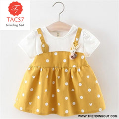 New Spring Autumn Baby Clothes Long Sleeve Fake 2 Piece Party Dress baby girl clothes kids ax1043 yellow / 6M