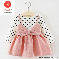 New Spring Autumn Baby Clothes Long Sleeve Fake 2 Piece Party Dress baby girl clothes kids AX870- Pink / 6M