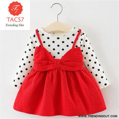 New Spring Autumn Baby Clothes Long Sleeve Fake 2 Piece Party Dress baby girl clothes kids AX870- Red / 6M