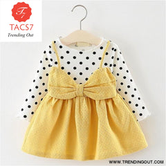 New Spring Autumn Baby Clothes Long Sleeve Fake 2 Piece Party Dress baby girl clothes kids AX870- Yellow / 6M