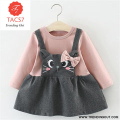 New Spring Autumn Baby Clothes Long Sleeve Fake 2 Piece Party Dress baby girl clothes kids AX898- Pink / 6M
