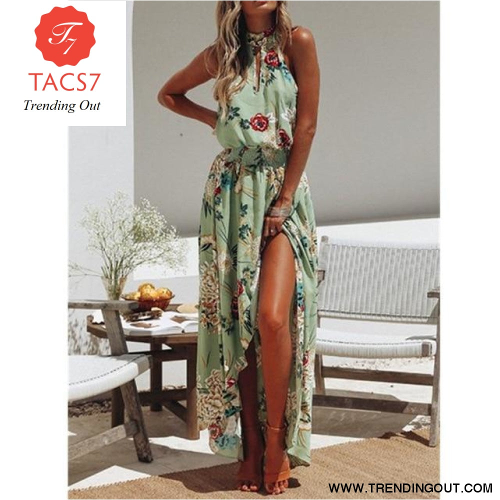 New Summer Hot Sexy Women Boho Floral Maxi Long Dress Evening Party Beach Side Slit Sundress Woman Ladies Sleeveless Dresses W3 Green / S