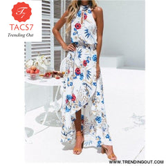 New Summer Hot Sexy Women Boho Floral Maxi Long Dress Evening Party Beach Side Slit Sundress Woman Ladies Sleeveless Dresses W3 White / S