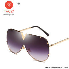 One Piece Sunglasses Men Brand Designer High Quality Oversized Sunglasses For Women Sunglass Metal UV400 Mirror