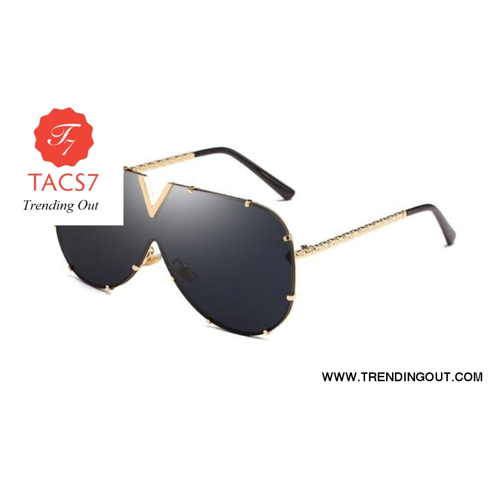 One Piece Sunglasses Men Brand Designer High Quality Oversized Sunglasses For Women Sunglass Metal UV400 Mirror Gold w black