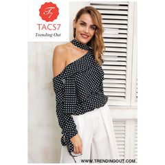 One shoulder polka dot blouse Ruffle chiffon blouse