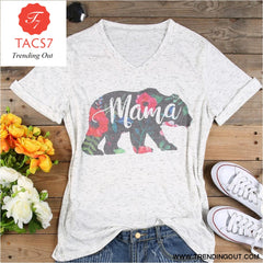 Plus Size V Neck Summer Floral mama bear t Shirt