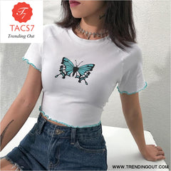 Rib White T Shirt Plain Short Sleeves Vintage T-shirt