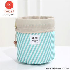 Round Make up organizer Cosmetic bag Blue stripes