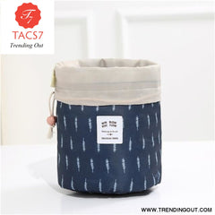 Round Make up organizer Cosmetic bag Navy feather