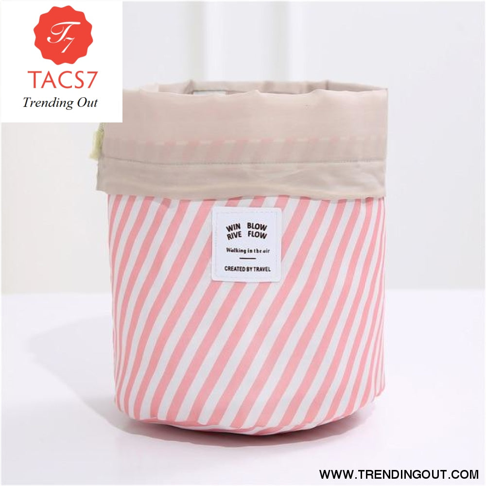 Round Make up organizer Cosmetic bag Pink stripe