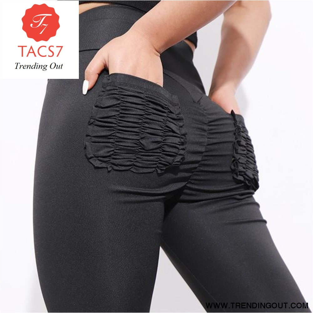 Sexy Push Up Fitness Leggings Women Pants High Waist Sporting Leggins Workout candy color Leggings Pockets S-XL Black / S