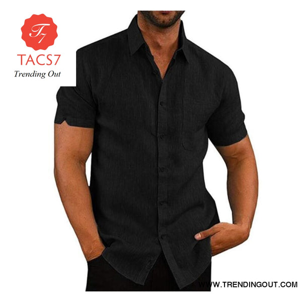 Short Sleeve Shirt Men Lapel Neck Button Pockets Solid Male Blouse Top