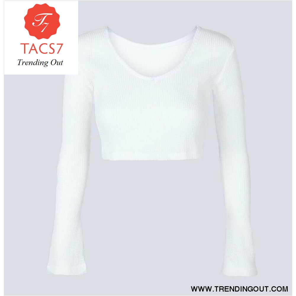 Short Tops Women Long Sleeve Slim Knit T shirts WHITE / S