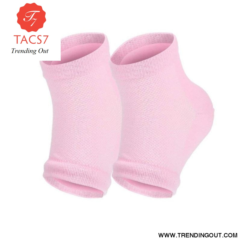 Silicone Moisturizing Gel Heel Socks For Cracked Dry Foot Skin Care Protectors Sock 1 Pair/2pcs Pink