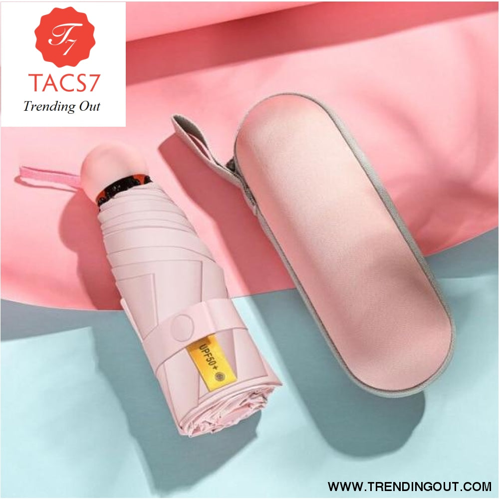 Small UV Protect Umbrella Mini Pocket 5 Folding Sun Rain Umbrella Waterproof Portable Travel Men Women Umbrella Pink