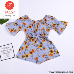 Spring Summer Baby Girls Rompers Baby Girl Clothes Floral Belt Three Quarter Cotton Jumpsuit Light Blue / 80cm