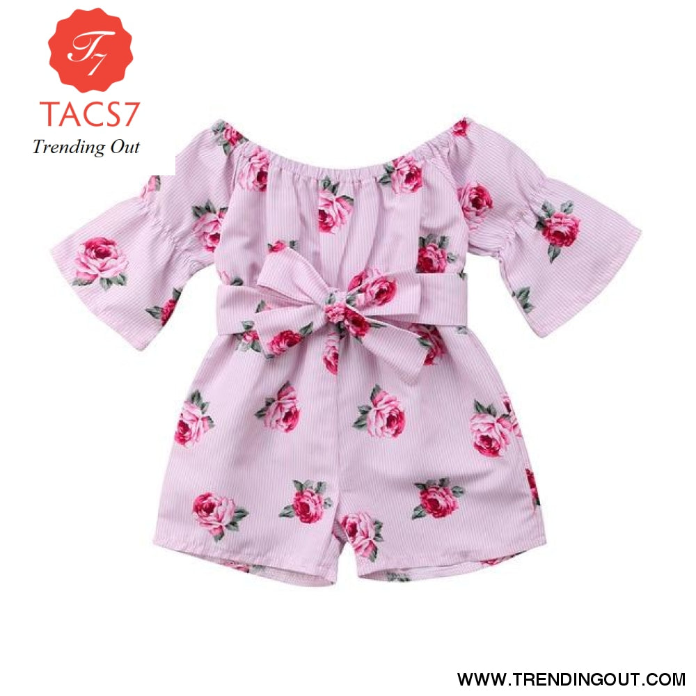 Spring Summer Baby Girls Rompers Baby Girl Clothes Floral Belt Three Quarter Cotton Jumpsuit Pink / 80cm