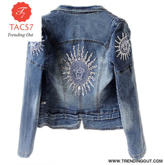 Star Jeans Women Punk zipper Denim Cropped Short Denim Coat