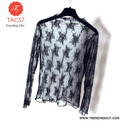 Summer Spring Womens See Through Mesh Basic Long Sleeve Blouse Mock Neck Embroidered Floral Lace Loose Pullover Tops 4